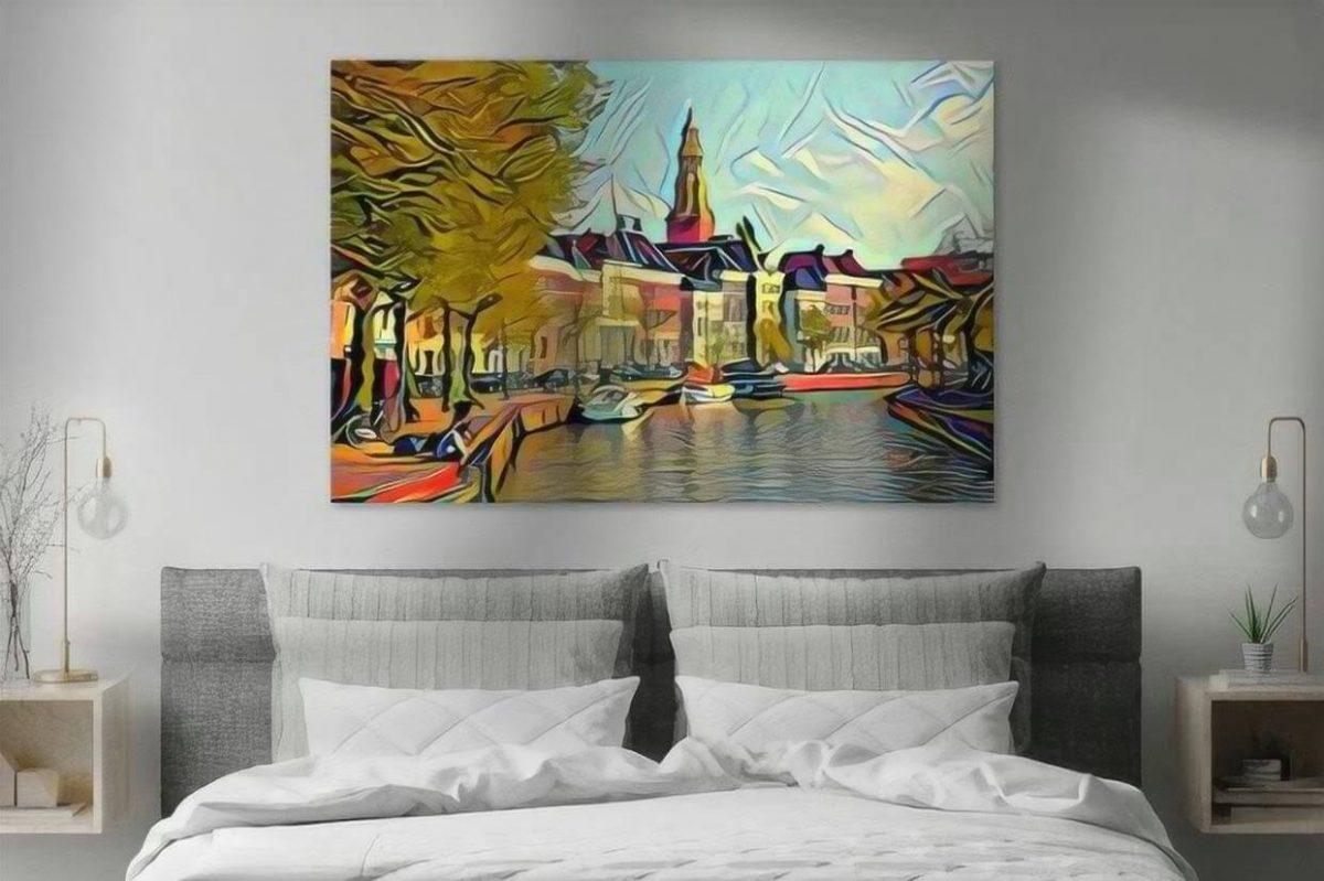 Schilderij Groningen kunst Hoge der Aa in de stijl van Picasso sfeerimpressie