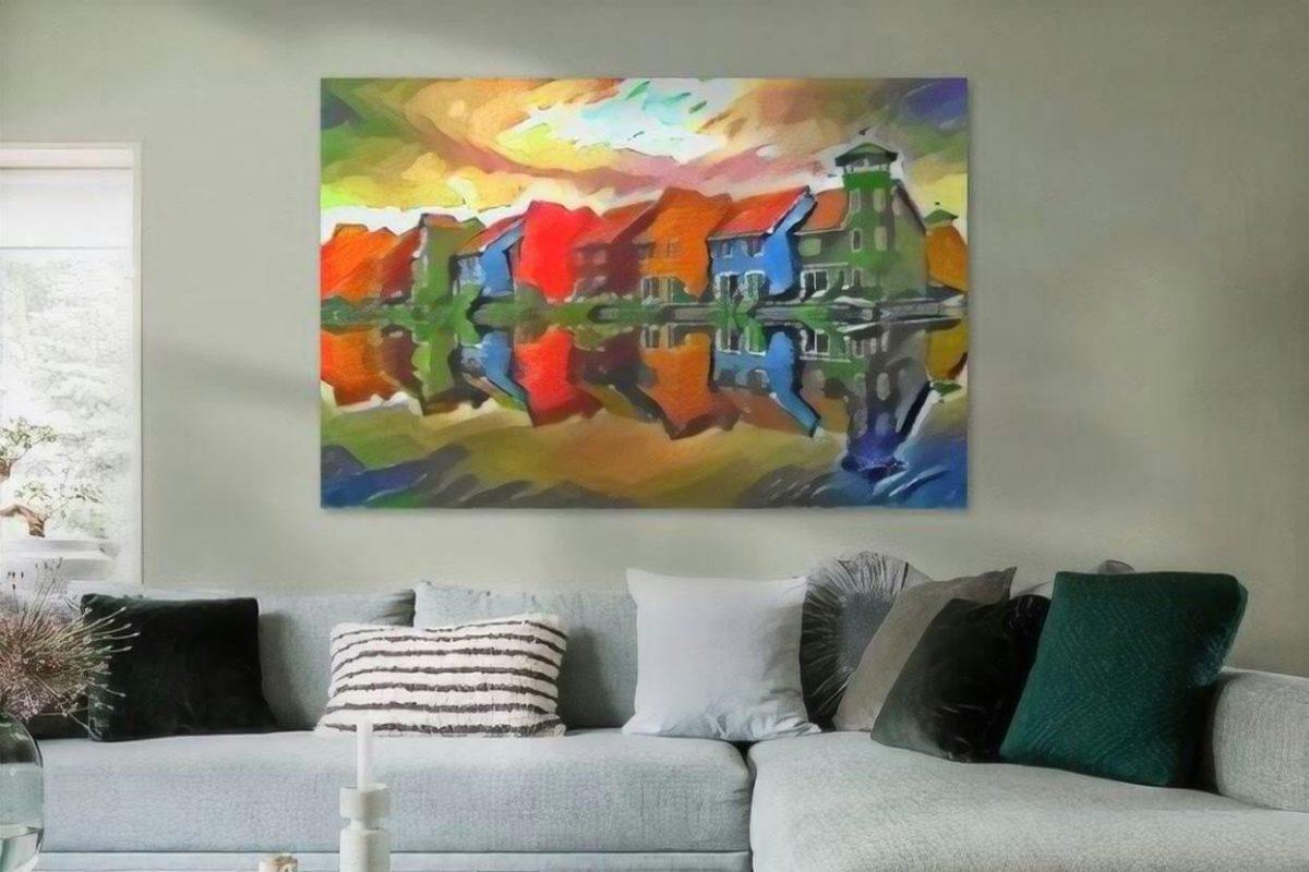 Schilderij Groningen kunst Reitdiephaven in de stijl van Kandinsky sfeerimpressie