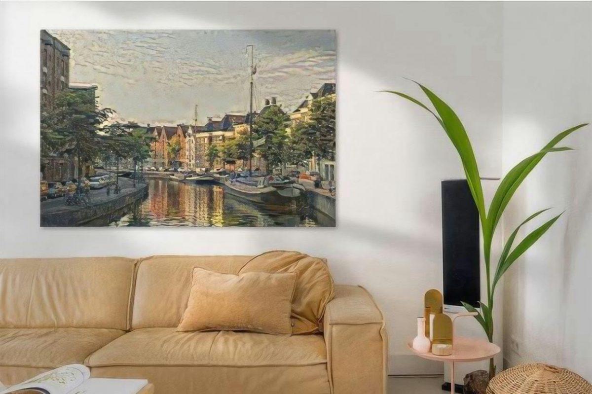 Schilderij Groningen kunst Zicht op Hoge Der Aa vanaf Groningse A-brug sfeerimpressie