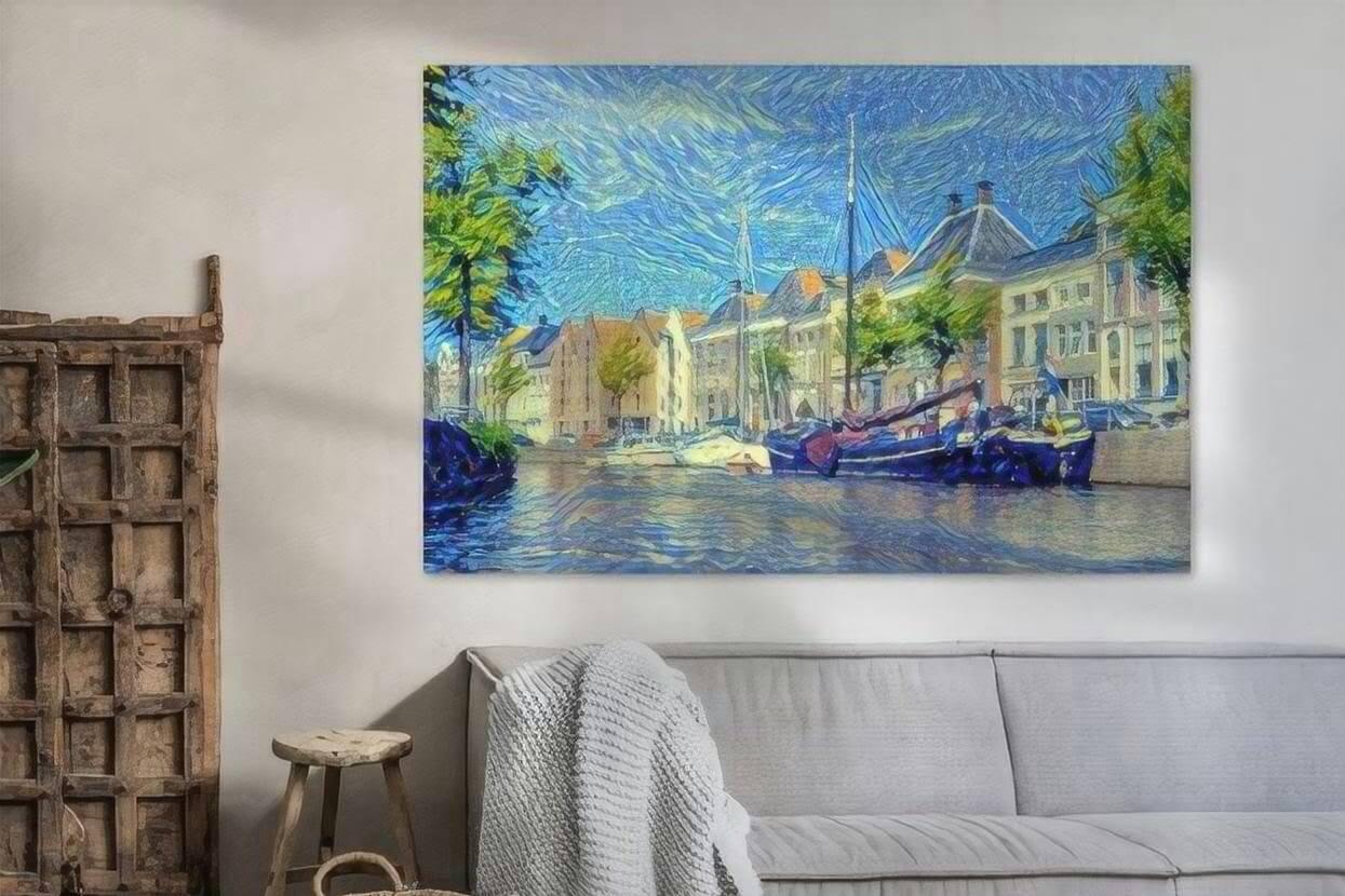 Kunst Schilderij Hoge Der Aa Groningen vanaf Water sfeerimpressie