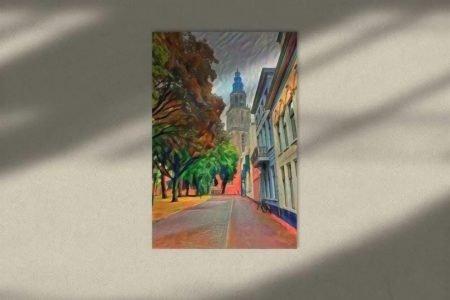 Schilderij Groningen kunst Martinitoren vanaf Martinikerkhof sfeerimpressie
