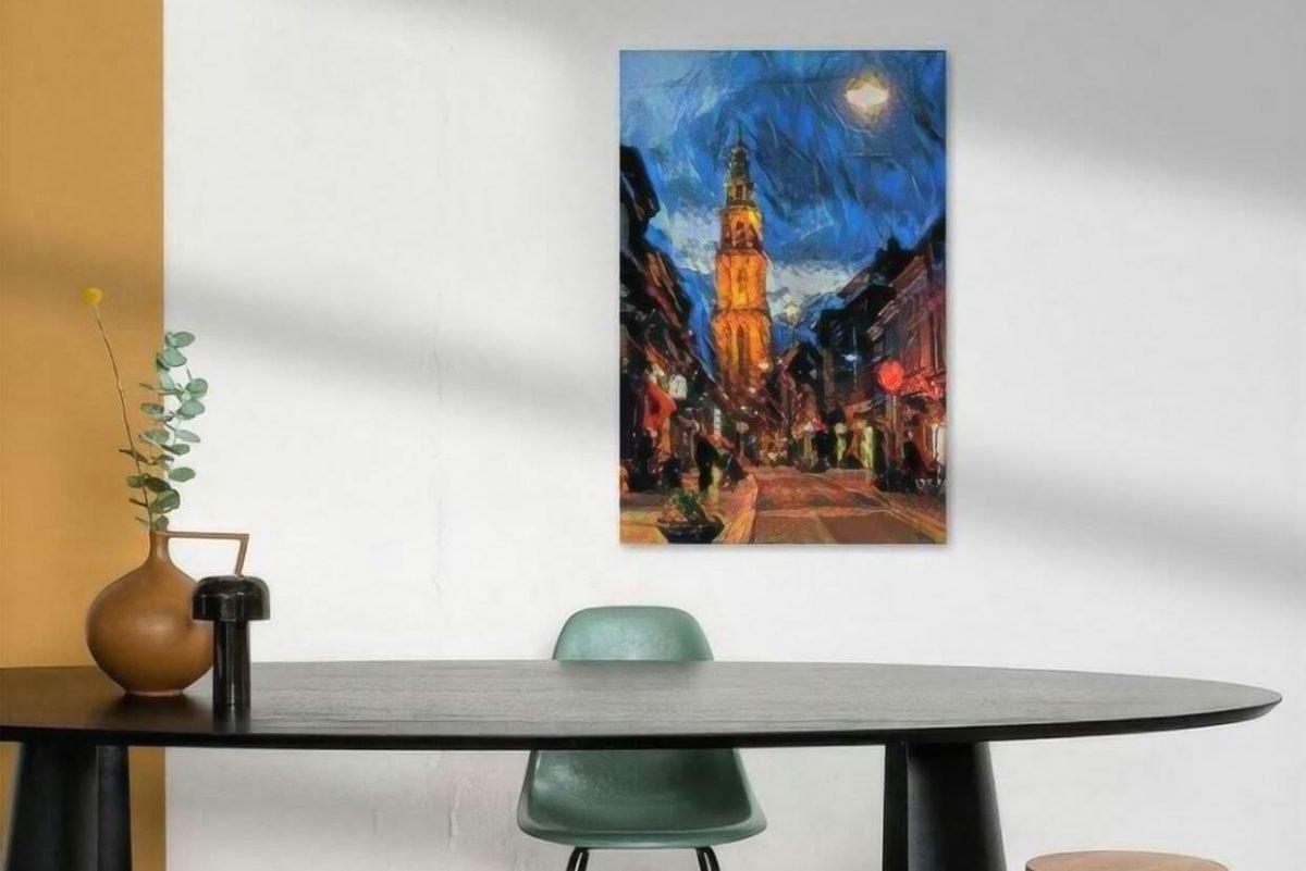 Sfeervol Schilderij Groningen kunst Martinitoren vanaf Oosterstraat sfeerimpressie