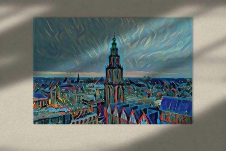 Schilderij Groningen kunst skyline met de Martinitoren sfeerimpressie