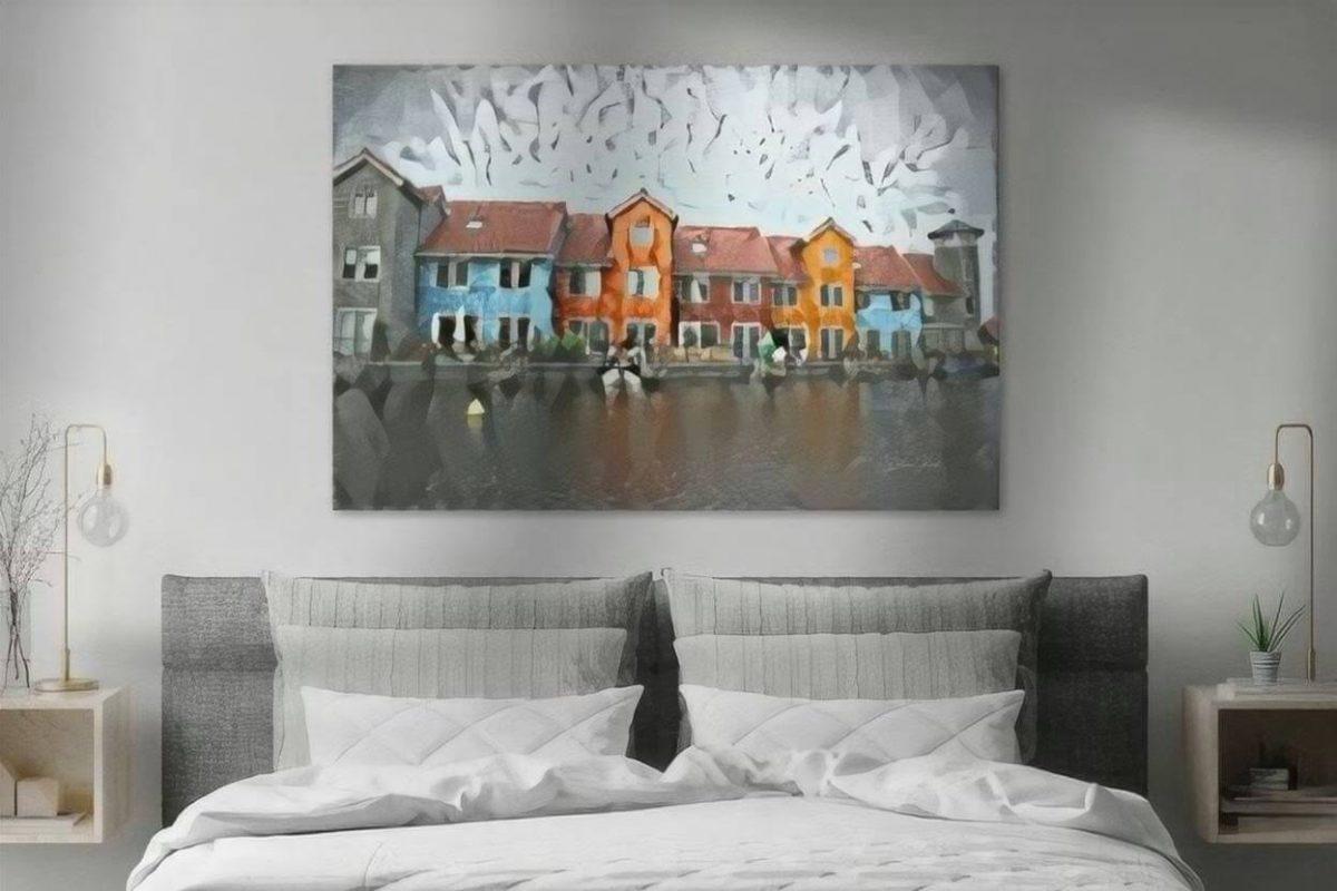 Stijlvol schilderij Groningen Reitdiephaven in de stijl van Delaunay sfeerimpressie