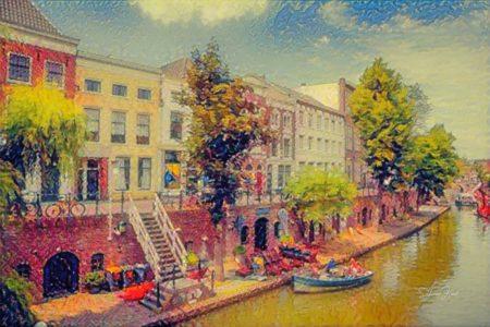 Impressionistisch Schilderij Utrecht Oude Gracht met Werfkelders