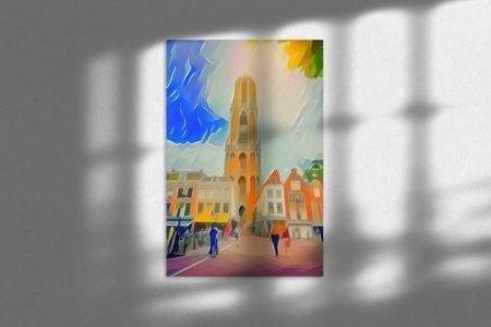 Sfeerimpressie Abstract Schilderij Utrecht Domtoren