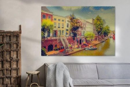 Sfeerimpressie Impressionistisch Schilderij Utrecht Oudegracht met Werfkelders